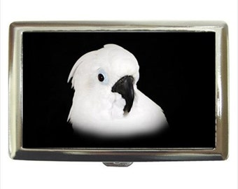 Umbrella Cockatoo Parrot Bird Money Cigarette Case Chrome Holder Wallet