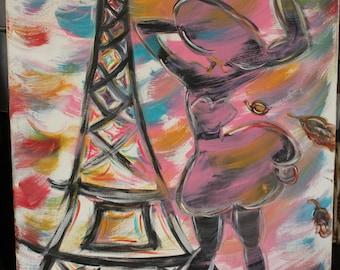 Original Figurative painting little Paris in the storm