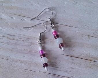 Pink and purple beaded dangle earrings / opaque dangle earrings