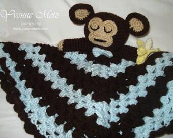 "Crocheted Baby Boy/Girl - Sleepy Monkey ""Lovey"" or Security Blanket Made to Order"