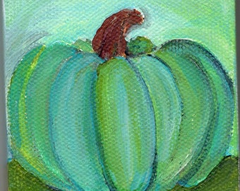 Original Blue green pumpkin mini acrylic painting,  home decor, small canvas painting, Easel, 3 x 3, kitchen art,  acrylic painting