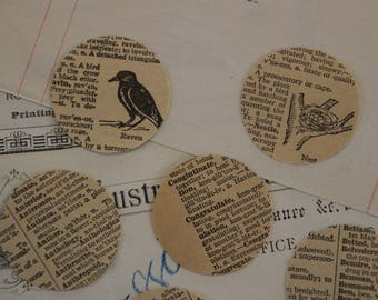 Vintage Illustrated Dictionary Circle Confetti // 3.5cm // 1.3 inch // Cut Out // Table Scatters // Wedding // Paper Ephemera // Scrapbook