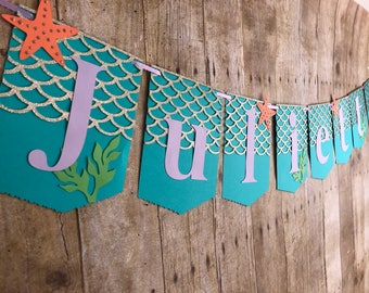 Mermaid Banner/Under the sea/Ocean/Birthday banner/Mermaid birthday banner/Mermaid party/Under the sea party/ Ocean party/Mermaids