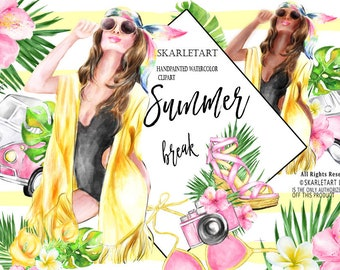 Summer Clip Art Tropical Flowers Clipart Beach Clipart Watercolor Fashion Clipart Surf Boards Camera Hibiskus Planner Stickers DIY