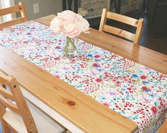 Spring Flower Table Runner | Watercolor, Flower, Floral, Spring, Summer, Bridal Shower, Wildflower, Bouquet, Baby Shower,