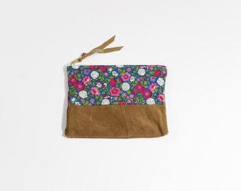 Tissu Vintage fleuri matelassé & pochette en suédine issus de 8 pouces tous les jours de fermeture à glissière