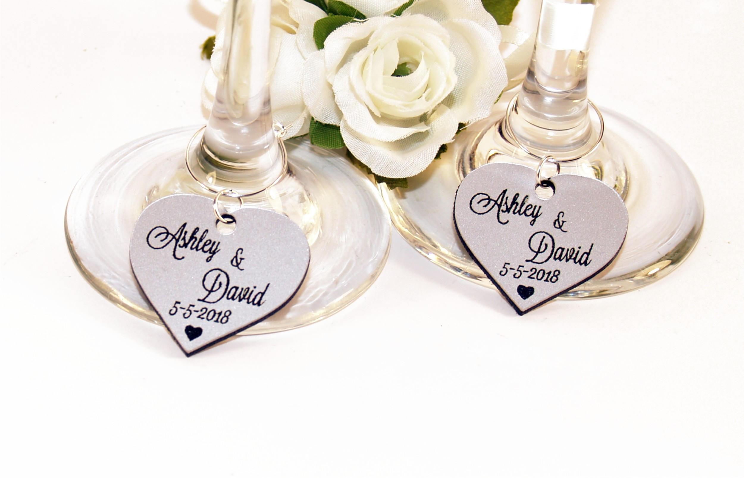 Wedding wine charms Anniversary wine charms Wine glass