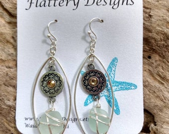 Hawaiian Blue Sea Glass Earrings
