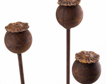 Extra Large Head Poppy Seed Plant Support Border Stakes In Natural Rust (Set of 3) 150cm Tall Handmade