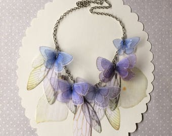 I Will Fly Away - Handmade Blue, Lavender, Pale Yellow and Green Silk Organza Butterflies and Wings Necklace - One of a Kind