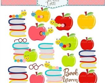ON SALE Book worm Clip Art / Books Clipart. Apple Book Clip Art, Book Clipart, Reading Clipart, Classroom School Study Back to School,Studen