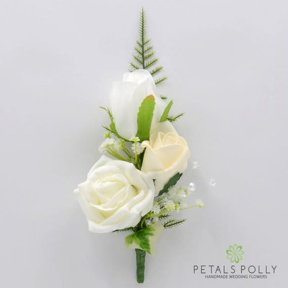 Artificial Wedding Flowers Ivory & White Triple Rose Gents
