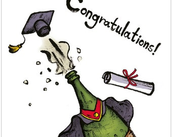 Graduation, Congratulations Card - with Champagne Illustration