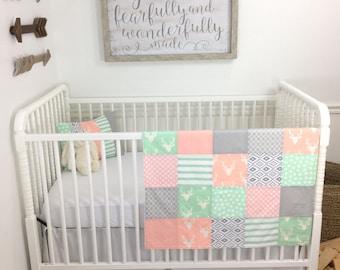 Woodland Baby Blanket, Woodland Nursery Decor, Woodland Crib Bedding, Baby Shower Gift, Blush Pink Mint Gray Tribal Bucks Deer Baby Girl