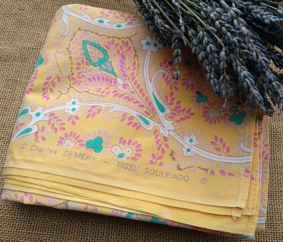 Vintage 70's Ch Demery Souleiado Tablecloth (pierre deux) Provence Fabric Yellow Cotton Green Lavender Pink White Paisley #sophieladydeparis