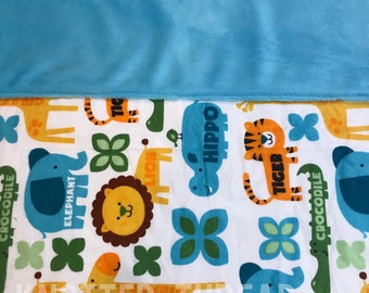 READY TO SHIP - Safari Animals- Personalized Name Blanket - Baby shower - Baby gift - newborn