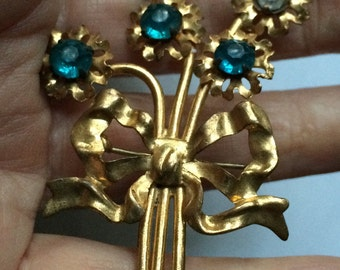 Gold Victorian Brooch,Gold Aqua Brooch,Art Nouveau Pin,Gold Leaf Pin,Flower Pin,Edwardian Pin,Blue Blue Bouquet Pin,Aqua Pin,Aqua Flower Pin