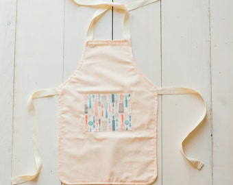 Children's Apron - Pink Apron with Kitchen Utensils Pocket - Little Girl Apron - Toddler Girl Apron - Cute Apron