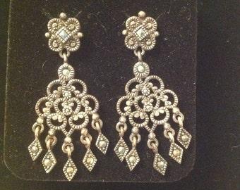 Sterling Silver Dangle chandelier earrings 925 marcasite pierced