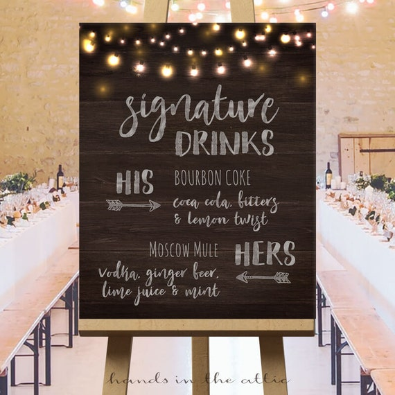 Wedding signature drinks sign printable wedding drinks sign junglespirit Images