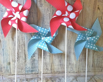 Aqua and Red - Paper Pinwheels - Pinwheel Party Decor - Vintage Circus