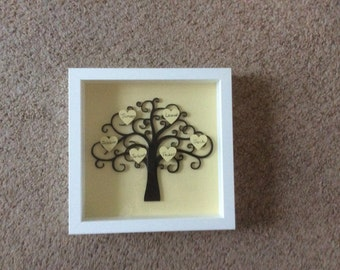 Family tree with named hearts in boxed frame