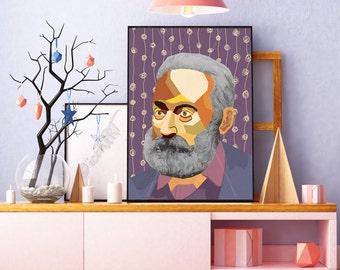 Victor Hugo  FRAMED ART, Literature, iconArt, Personalized Gift, Name, City, Gift For Women, For Men, For Grandma, For Grandpa,