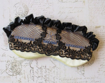 Queen Bee Sleep Mask in Black, Yellow, Blue // Lace & Satin Eye Mask
