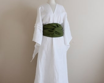 custom linen swallow dress with wide obi / linen wedding dress / obi sash / white linen dress / Asian style dress / linen party dress /