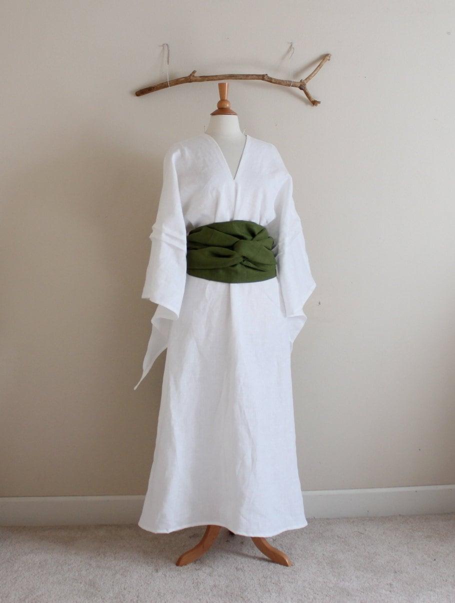 custom linen swallow dress with wide obi / linen wedding dress / obi ...