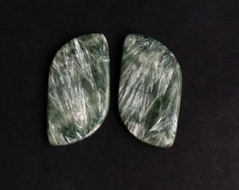 Seraphinite Fancy Smooth Cabochon, Natural Seraphinite Designer Cabochon Pair, 37x20 MM, 52 Cts, Loose Gemstone Pair.