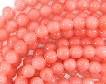 "10mm glass round beads 14"" strand light pink 32517"