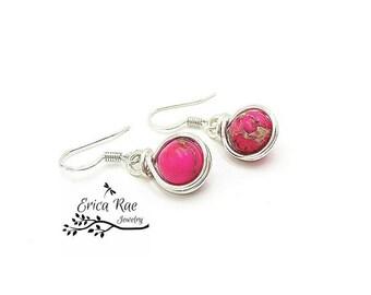 Sea sediment jasper earrings, pink earrings, gemstone earrings, dangle earrings, silver earrings, wire wrap earrings