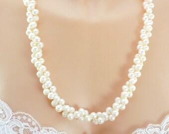 Bridal Torsade Necklace, Fresh water pearls, Genuine Pearls, Torsade Necklace, Wedding Necklace, Sterling Silver Torsade Clip