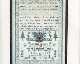 Vintage Sampler Counted Cross Stitch Pattern, Jane Self Sampler, Anne Powell Heirloom Stitchery, 1817 Replica Historical Cross Stitch Chart
