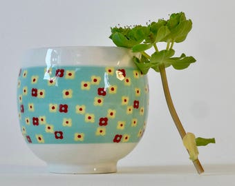 Craft ceramic Cup - floral decoration