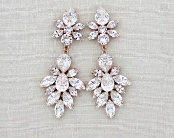 Rose Gold Bridal earrings, Crystal Wedding earrings, Chandelier earrings, Bridal jewelry, Swarovski Statement earrings, Rose Gold Earrings