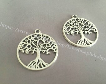 30 Pieces /Lot Antique Silver Plated 29mm trees charms (#019)