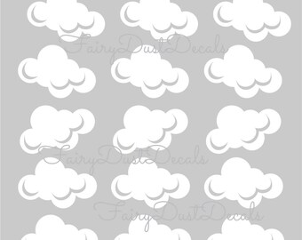 Cloud wall decals, set of 15 clouds, Cloud decals for nursery bedroom wall, white cloud decals for baby nursery, vinyl fluffy cloud decals