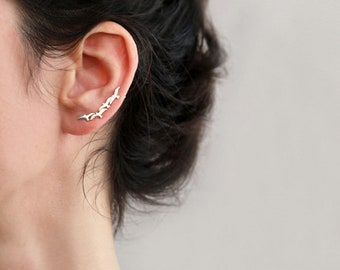 Silver ear cuff, Seagall  Ear Climber, 4 small seagall , 18K gold plated or Sterling Silver, Animal lover jewelry ,  Nickel Free
