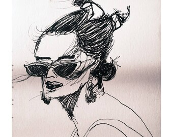 Sun goddess- ink drawing