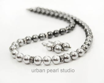 Shades of Grey Ombre Swarovski Pearl Necklace Earrings Mother of the Bride Gray Pearl Earrings Necklace Set Bridal Jewelry