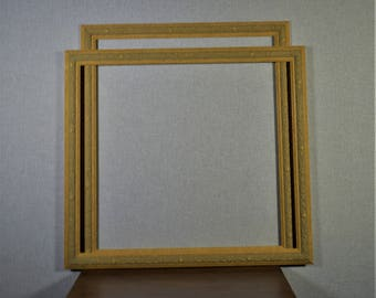 20x22 Frame (Approx) Pecan Light Gold Carved Wood with Optional Custom Matting