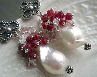 Baroque Pearl Earrings Baroque Pearl and Ruby