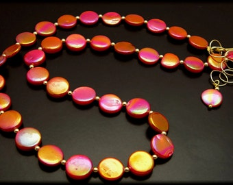 MIAMI SUNSET ~  Red / Gold Mother of Pearl GF Necklace
