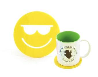 Cool Smiley Face Emoji Coaster Yellow