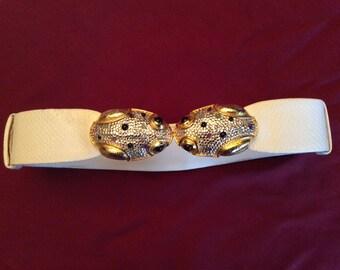 Vintage Judith Leiber White Snakeskin Belt w/ Crystals and Gemstones Frog Belt (adjustable)