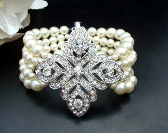 pearl rhinestone Bracelet, bridal bracelet, Statement Bridal Bracelet, Wedding Rhinestone Bracelet, swarovski crystal bracelet, ABIGAIL