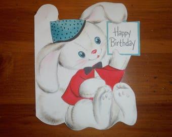 Vintage 1950's Child's Happy Birthday Card - '50's Bunny Rabbit Child Vintage Birthday Greeting Card - 1950's Boy Girl White Toy Rabbit Card