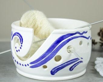 Yarn bowl Knitting bowls Crochet Ceramic bowl Christmas gift bright White organizer Cobalt Blue Waves Pottery gift for knitter MADE TO ORDER